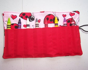 Ladybug crayon roll up 8 count