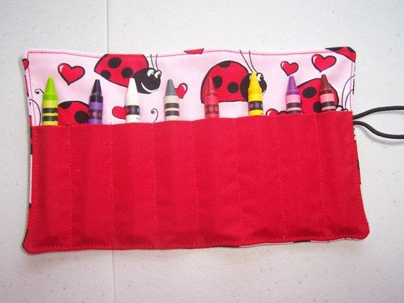 Ladybug crayon roll up 8 count