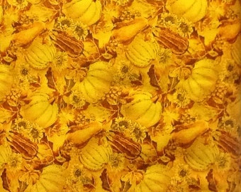 Gold harvest pumpkin sparkle cotton fabric - over six yards total