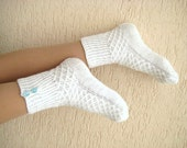 White Socks - Home socks at cold winter days - Warm comfortable hand knit house slippers - Ready to ship - White socks with blue buttons