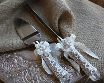 Wedding Cake Server And Knife Set - Country Rustic Chic Wedding -Cake Server Set- Burlap and Lace Cake Server Set  Must See