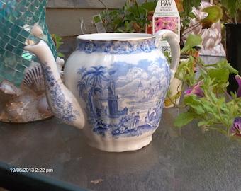 Antique Ridgway ''Oriental'' Pattern Transferware Coffee Pot - England - Very Rare