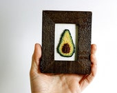 Ready to ship! Punchneedle Avocado in a Mini Frame. Embroidery Fiber Art. Home, Office, or Kitchen Decor. Green, Brown. Foodie, Dietitian.