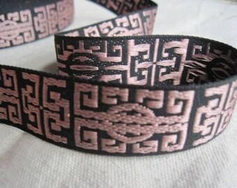 Zen jacquard woven ribbon Light ROSE Pink on BLACK