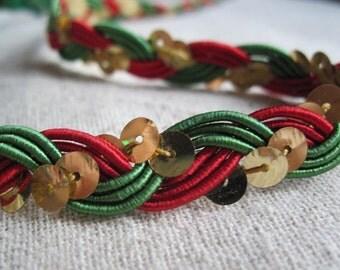 RED GREEN Gold Sequin  Braid trim