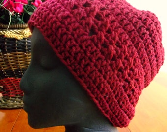 Adult Crocheted Hat, Classic Style Beanie, Burgundy Color, Male or Female