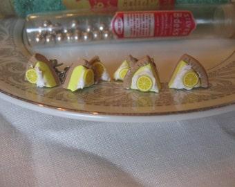 Lemon Merangue Pie. Holiday handsculpted surgical steel post earrings.