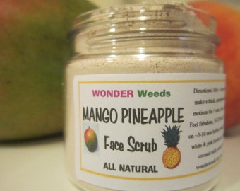 All NATURAL, Mango Pineapple Face Scrub, Face Cleanser, & Mask, Gently Exfoliates