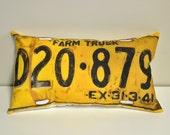 Farm truck license plate pillow