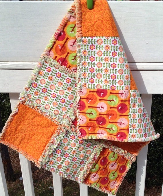 Riley Blake Baby Rag Quilt and Burp Cloth orange green pink - ready to ship
