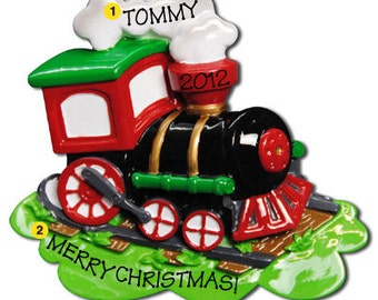 Personalized Christmas Ornament Choo CHoo Train, Steam Engine- Baby boy's First Czhristmas- Free Personalization