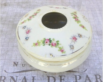 PORCELAIN HAIR RECEIVER, Hand Painted Nippon, Turn of the Century, Antique, Vintage Dressing Table Accessory