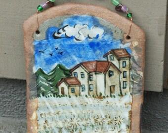 Stoneware Farmhouse Decorative Tile Painting