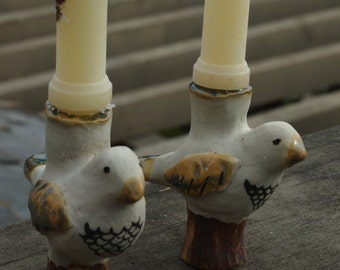 Pair of White Birds candlestick holders