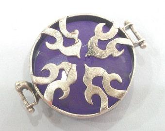 Silver Blank Lavander  Pendant Connectors , Antique Silver Plated Brass  Bezels G1133
