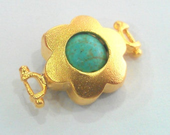 14 mm  Turquoise  Connectors , Gold Plated Brass Bezel  G1206