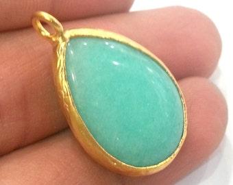 26x19 mm Turquoise  Pendants , Gold Plated Drop Bezel   G1954