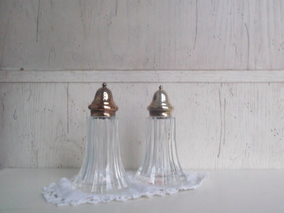Vintage Crystal Salt and Pepper Shakers FB Rogers Silver Shakers Wedding Table Decor