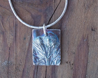 spring necklace, botanical necklace, eco friendly jewelry, summer grass necklace, silver pendant, pineapple weed, made in america, sterling
