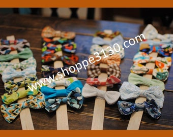 Set of two baby toddler bow tie with fabric covered clip