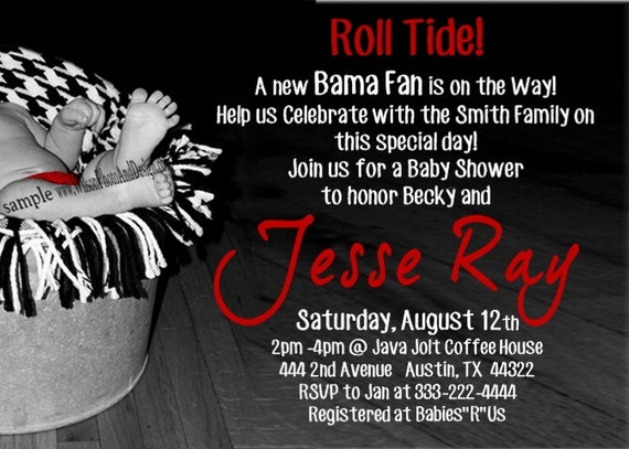 Alabama Roll Tide Baby Shower Invitation by ...