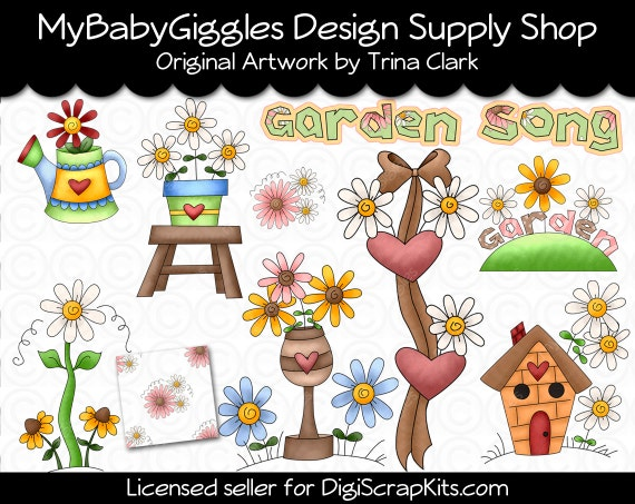 Garden Song Clip Art Digital Graphics Scrapbook Card Making Supply INSTANT DOWNLOAD