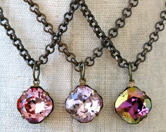 Pink Amethyst Lilac Swarovski Crystal Pendant Necklace, Small Pendant Necklace, Bridesmaid Necklaces, Blush Necklace, Radiant Orchid