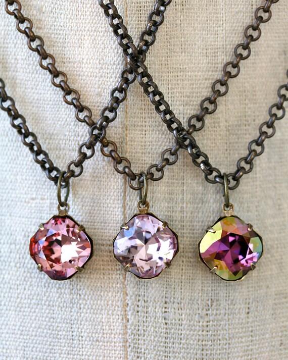 Pink Amethyst Lilac Swarovski Crystal Pendant Necklace, Small Pendant Necklace, Bridesmaid Necklaces, Blush Necklace, Radiant Orchid
