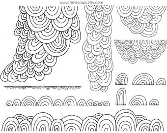 Photoshop Digital Overlays, Scallop Border Clip Art, Decorative Doodles,  PNG Digital Stamps + Brushes, Outline & Silhouette