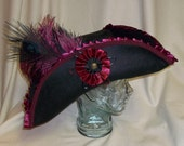 Deluxe Black Pirate Hat- Tricorn with Burgundy and Black Trim and Feathers