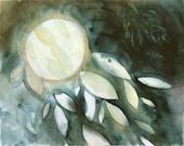 "original abstract watercolor painting, moon, cosmos, night sky, gray, yellow glow ""Full Moon"""