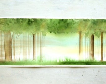 watercolor painting forest landscape painting original watercolor trees, long, brown green, blue, storybook
