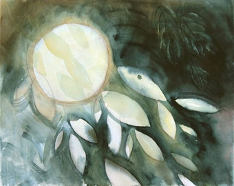 "original abstract watercolor painting, moon, cosmos, night sky, gray, yellow glow ""Full Moon"""
