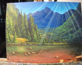 Mountain Lake With Trees And Sunlight, Summer, Spring, West, Water, Original Landscape Oil Painting
