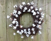 birch twig wreath with cotton blossoms
