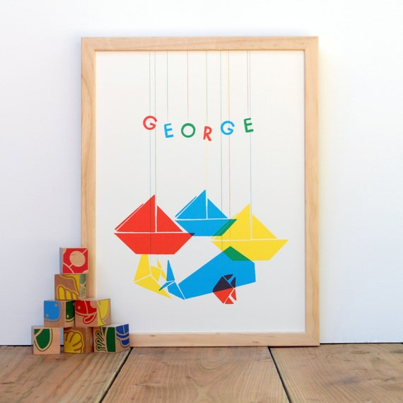 Origami Boats and Fish, Ocean Scene - Personalized Print for Nursery or Playroom