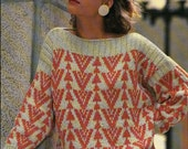Jacquard Pullover w/ Bands of Triangles Knit Pattern