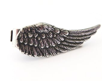 Angel Wing Tie Bar- Sterling Silver & Antiqued Brass Finishes- Gifts For Men- Groomsmen Gifts
