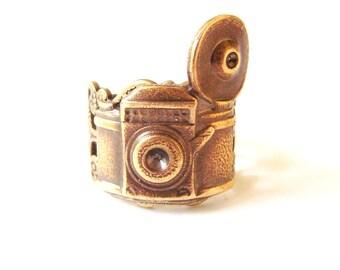 Steampunk Camera Ring- Adjustable- Antique Brass
