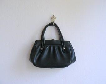 Vintage 1950s handbag. 50s black leather purse