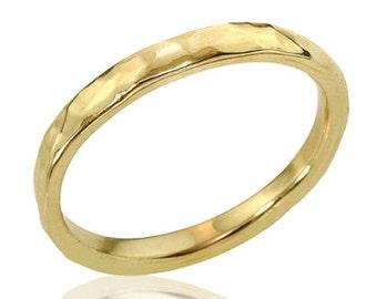 14k gold simple hammered wedding band hammered band gold wedding band minimalist wedding