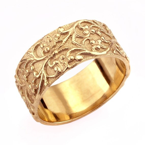 vintage foliage wide wedding band gold wedding band