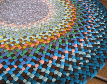 Made To Order Custom Braided Round Rug-Your Choice of Colors from recycled fabrics