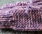 Child's Hand Knitted Slippers with Bows - Variegated Pink