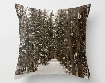 Winter Pillow Throw Cover, Aluminum Grey, Man Cave Decor, 22 x 22, 24x24, 26x26, 28x28, 30x30, Woodland Toss Cushions, Handmade in Canada