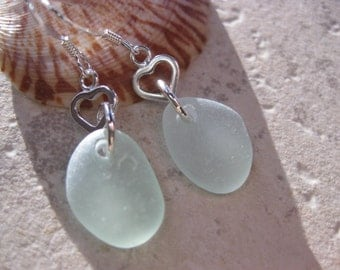 Beach Glass Earrings - Beach Earrings heart jewelry sea glass earrings I love jewelry seaglass earrings sterling silver dangle earrings