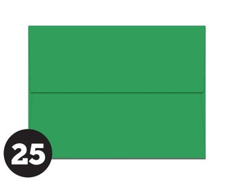 A2 Green Envelopes for RSVP and Announcements, Photos, Note Cards, Bright Green, Christmas Green, Pack of 25