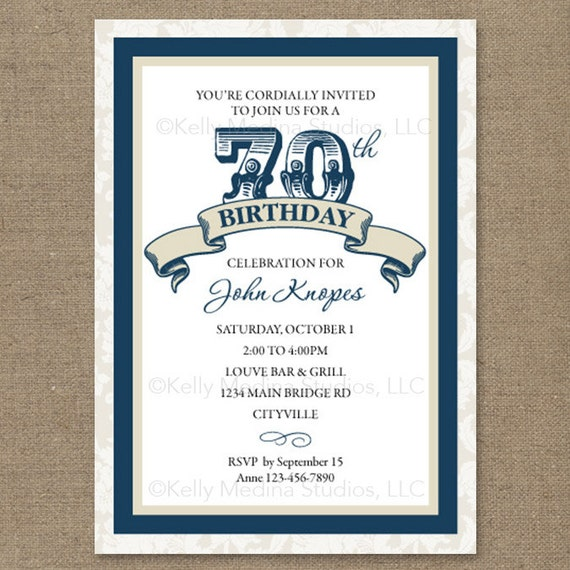 Custom 70th Birthday Navy Blue And Cream Or Red Maroon Or