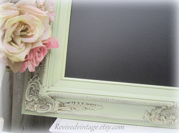 "DECORATIVE KITCHEN CHALKBOARDS Wedding Magnetic Chalk board 31""x27"" Celery Green Shabby Chic Home Office Decor Wedding New Home Gift"
