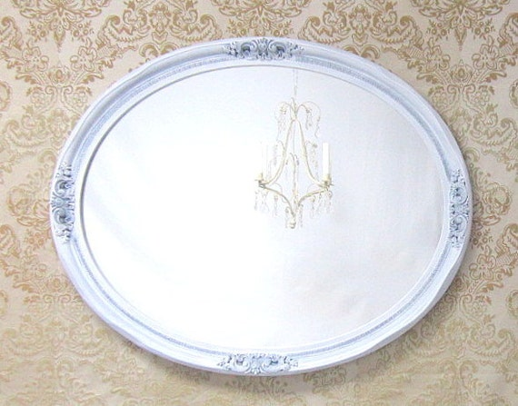 FRENCH COUNTRY MIRRORS For Sale Shabby Chic Mirror Oval Ornate Antique Large White Decorative Wall Mirrors Ivory Framed Vanity Mirror